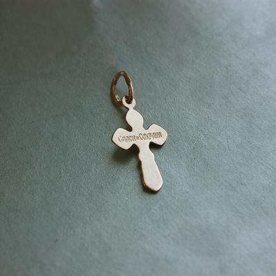 Золотой крестик в комбинированном цвете с насечкой 000043108 000043108