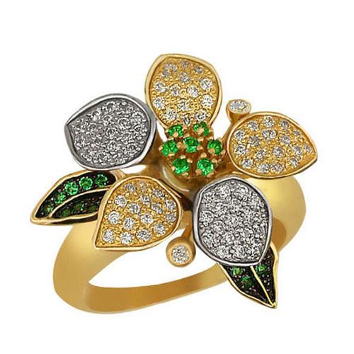 Золотое кольцо Жасмин в комбинированном цвете с белыми и зелеными фианитами VLT--ТТ1007-1