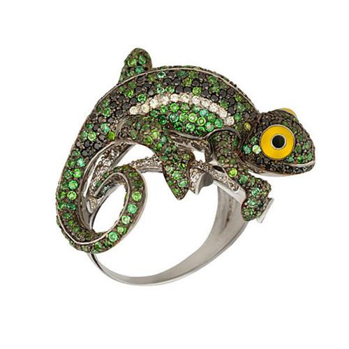 Золотое кольцо Ящерица в комбинированном цвете с фианитами микс и цветной эмалью VLT--ТТ1059