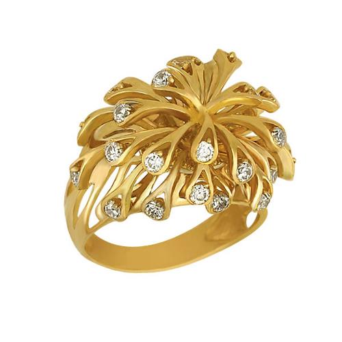 Кольцо из желтого золота Коралловые рифы с фианитами VLT--Т171-1
