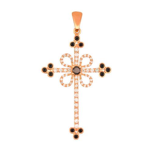 Крестик из красного золота с черными и белыми фианитами Любовь VLT--ТТ3355-6