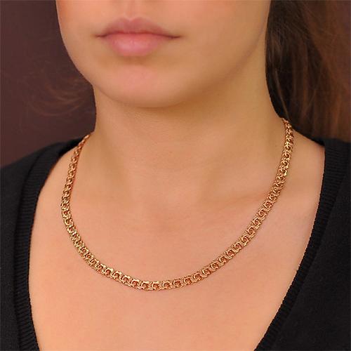 Цепочка из красного золота в плетении арабский бисмарк, 7мм 000001531 EDM--Ц 013/1-4