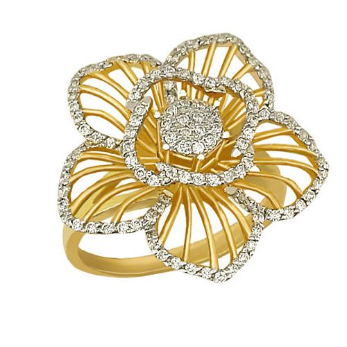 Золотое кольцо Мальва в желтом и белом цвете с фианитами VLT--ТТ1025-1
