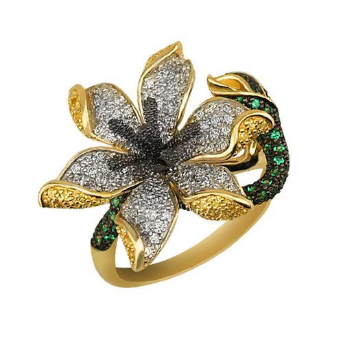 Золотое кольцо Амараллис в комбинированном цвете с белыми, зелеными и шампань фианитами VLT--ТТ1082-1