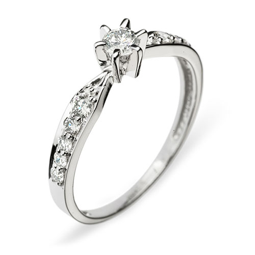 Кольцо в белом золоте Virgo с бриллиантами 000079269
