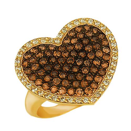 Золотое кольцо Сердце Амура в желтом цвете с белыми и коньячными фианитами VLT--Т194-1