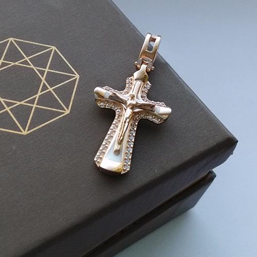 Золотой крестик с фианитами Крещенский 000006558 000006558