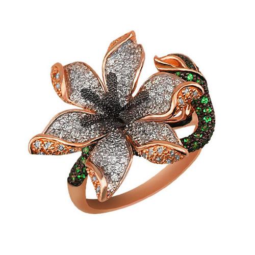 Кольцо из золота Амараллис в комбинированном цвете с белыми и зелеными фианитами VLT--ТТ1082-2