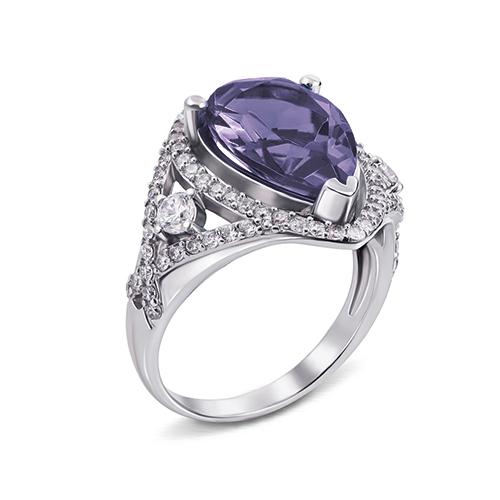 Серебряное кольцо Мерилин с аметистом и фианитами 000079681