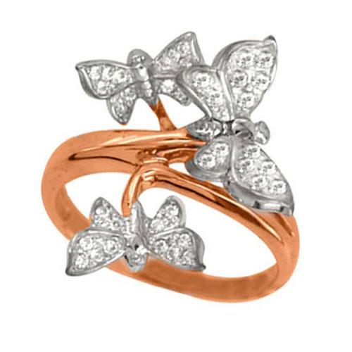 Золотое кольцо Трио бабочек в комбинированном цвете с фианитами VLT--Е1472