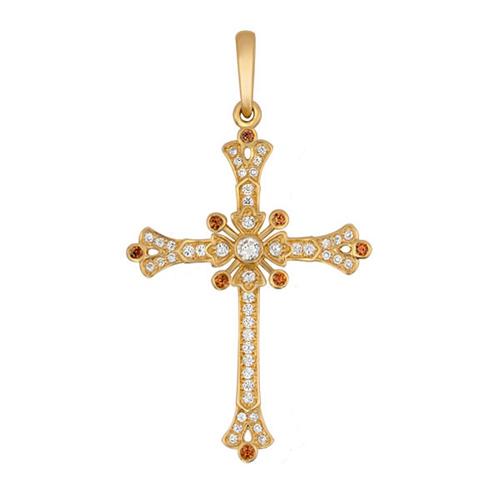 Крестик из желтого золота Маргарита с коньячными и белыми фианитами VLT--Т3441