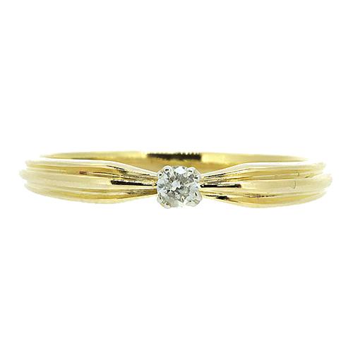Золотое кольцо в жёлтом цвете с бриллиантом Велия 000021511