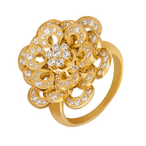 Кольцо из желтого золота Астра с фианитами VLT--ТТ152-1