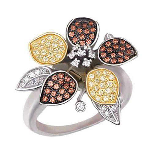 Золотое кольцо Жасмин в комбинированном цвете с белыми и коньячными фианитами VLT--ТТ1007