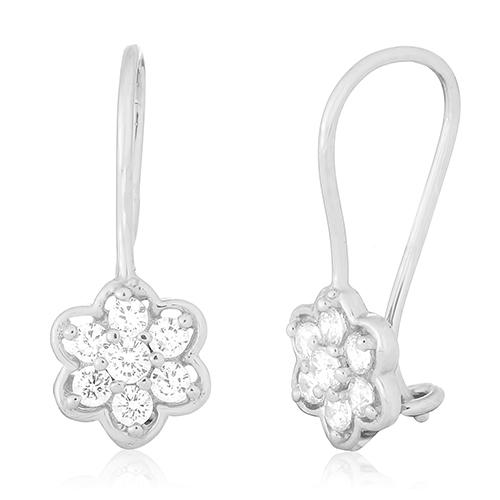 Сережки из серебра с фианитами Жасмин SLX--С2Ф/269