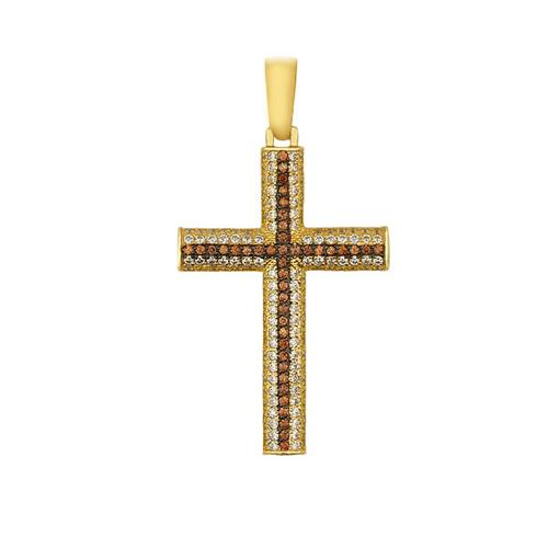 Декоративный крест из желтого золота Защитник VLT--ТТ3325-1