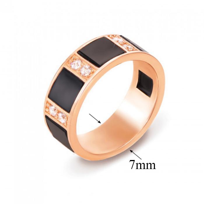 Золотое кольцо Амарит с ониксом и фианитами 000061634