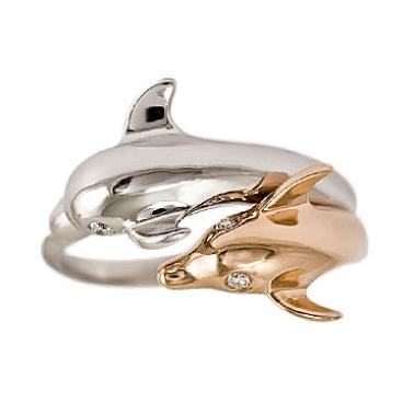 Золотое кольцо с бриллиантами Дельфинчики 000030482