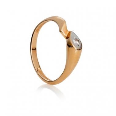 Золотое кольцо с цирконием Владлена 000030586