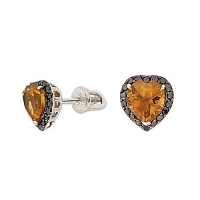Серьги-пуссеты в белом золоте с цитринами и чёрными бриллиантами Сердечки