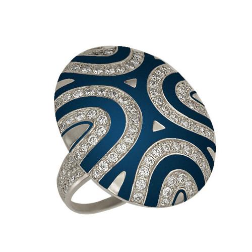 Золотое кольцо Светская львица в белом цвете с фианитами и синей эмалью VLT--Т161-1