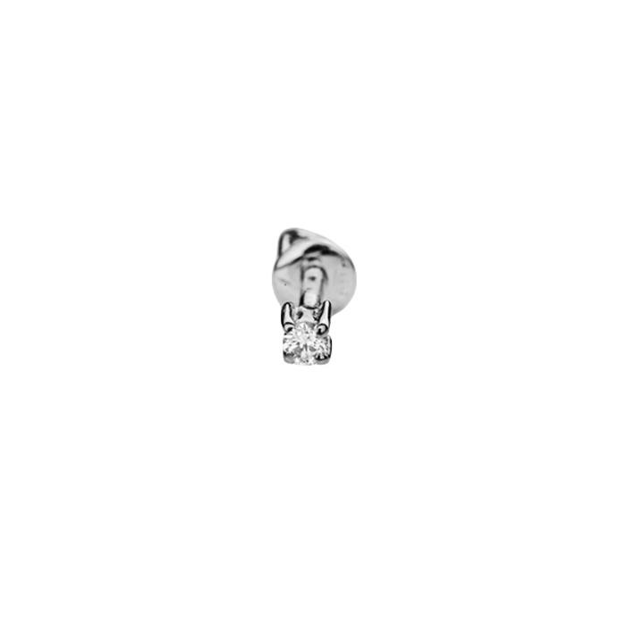 Серьга-пуссета в белом золоте Ибица с бриллиантом 000079167