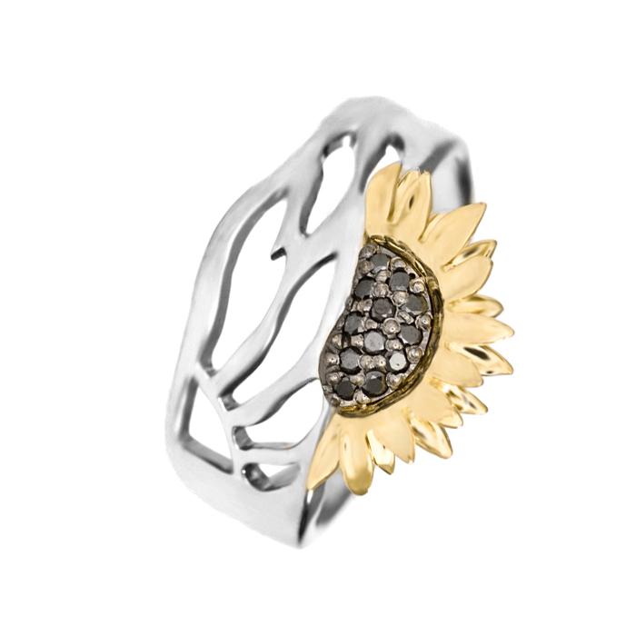 Золотое кольцо с черными бриллиантами Подсолнух 000030488