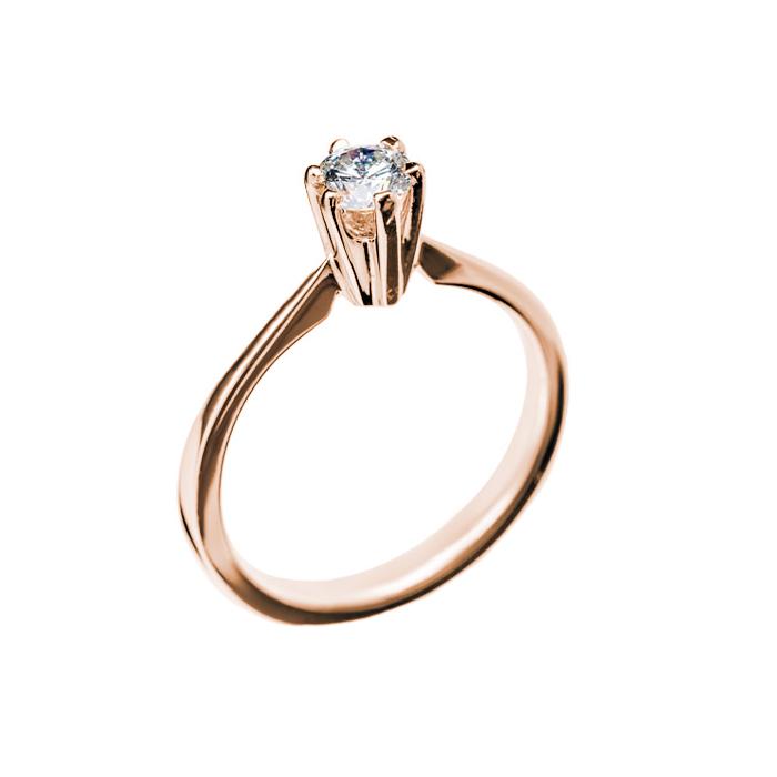 Кольцо в красном золоте Единственная с бриллиантом 000079284