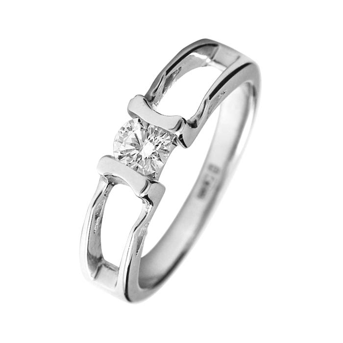 Кольцо из белого золота с бриллиантом Марта 000030480
