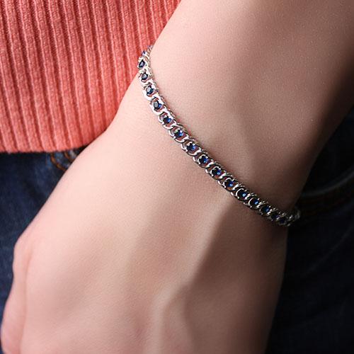 Серебряный браслет Мирена с синим цирконием, 4,5мм 000044858