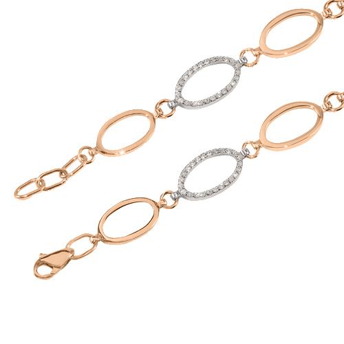 Золотой браслет Амалия в комбинированном цвете с фианитами 000079944