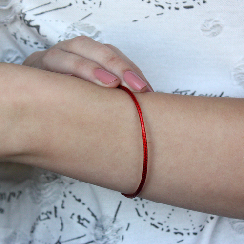 Красный шелковый браслет Матиас с позолоченной застежкой, 2мм 000055257