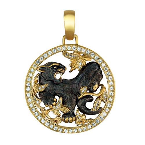 Золотой кулон Пантера Багира в желтом и черном цвете с фианитами VLT--Т377-1
