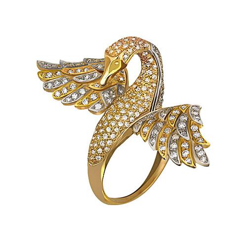 Золотое кольцо Лебедь в желтом и белом цвете с фианитами VLT--ТТ1065-1