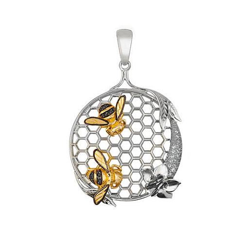 Золотой кулон Пара пчел с сотами и цветочком в комбинированном цвете с черными и белыми фианитами VLT--Т3416