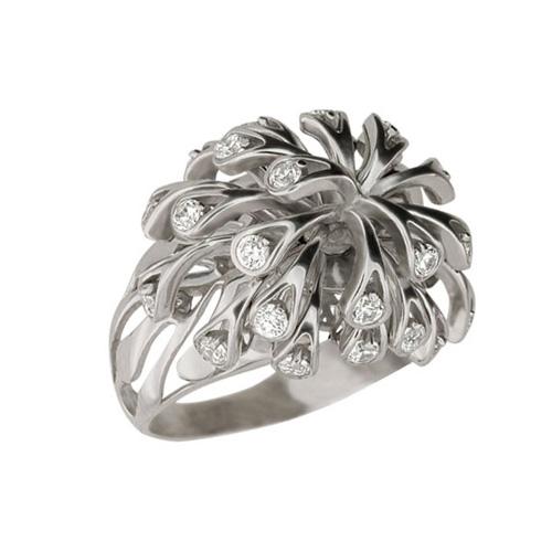 Золотое кольцо Коралловые рифы в белом цвете с фианитами VLT--Т171