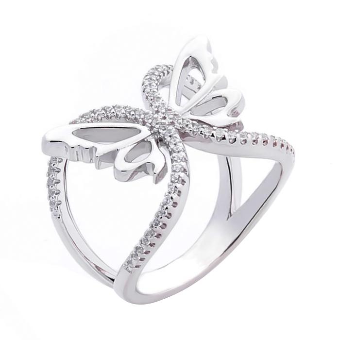 Серебряное ажурное кольцо Легкость мотылька с цирконием 000069112