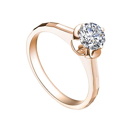 Помолвочное кольцо в красном золоте Фиалка с граненой шинкой и бриллиантом 0,17ct 000070575