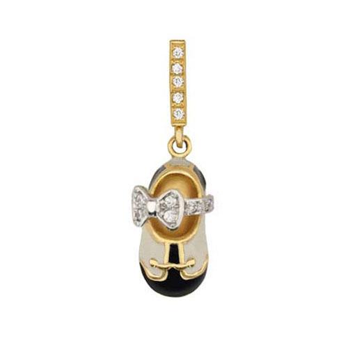 Золотой кулон Туфелька с бантом в комбинированном цвете с фианитами, белой и черной эмалью VLT--Т360-4