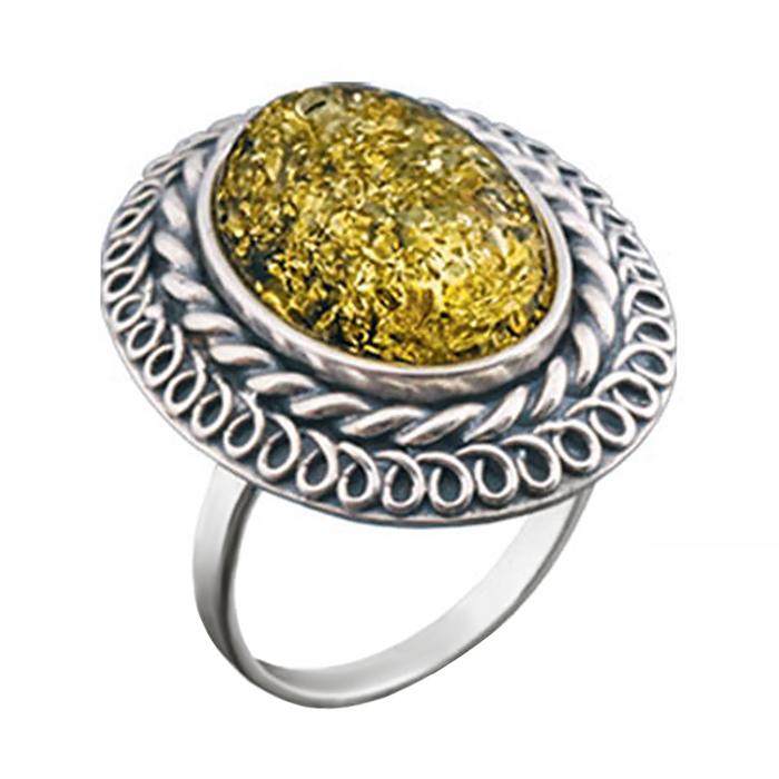 Серебряное кольцо Ингрид с янтарем и чернением 000066672