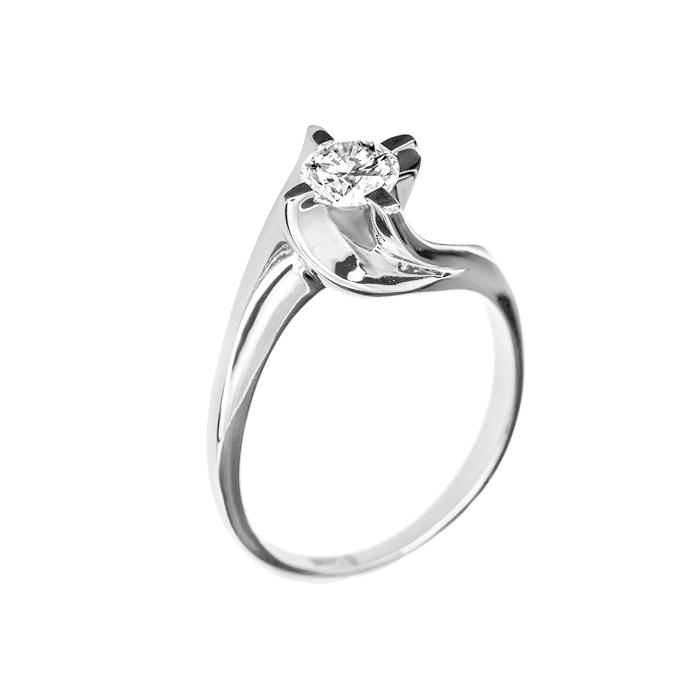 Кольцо в белом золоте Грета с бриллиантом 000079299
