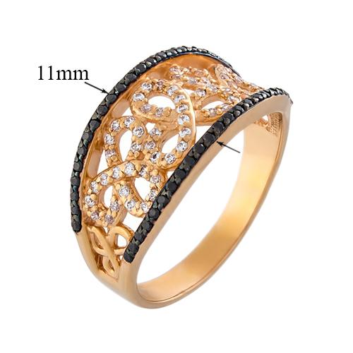 Кольцо из красного золота с черными и белыми фианитами 000000254 12544/ч с