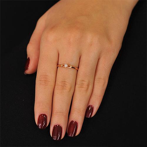 Кольцо из красного золота Первоцвет с бриллиантом EDM--КД7490