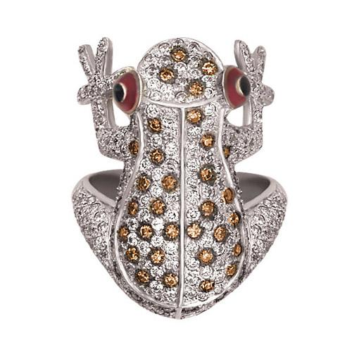 Кольцо из белого золота Лягушонок с фианитами VLT--ТТ175