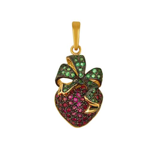 Золотая подвеска Ягода в комбинированном цвете с красными и зелеными фианитами VLT--Т336-8