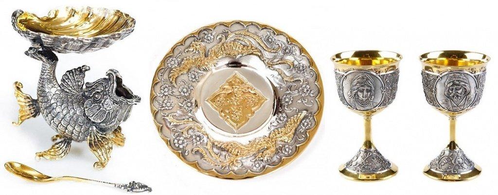 Красивая посуда из серебра