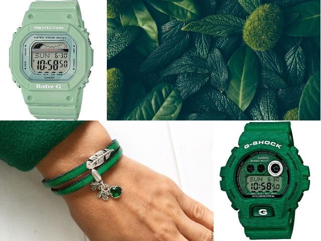 Наручные часы в зеленом корпусе