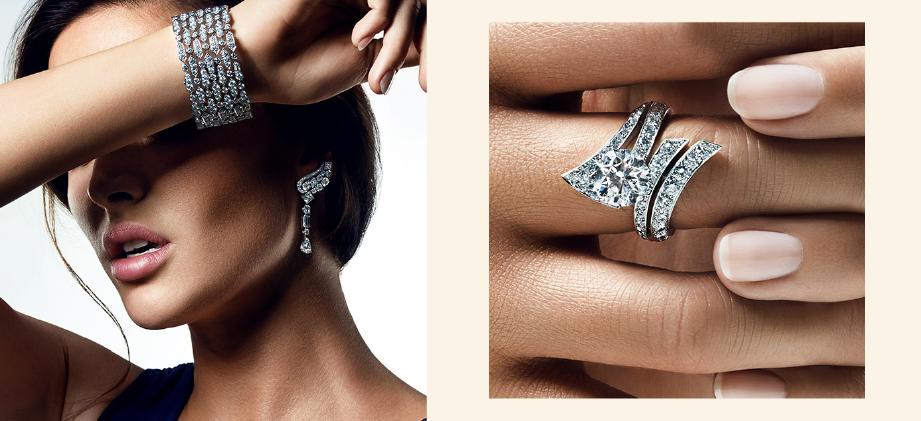 Бриллиантовый браслет и кольцо De Beers
