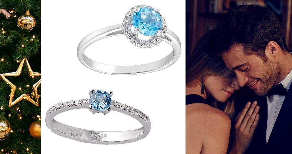 Кольца для помолвки с голубыми вставками