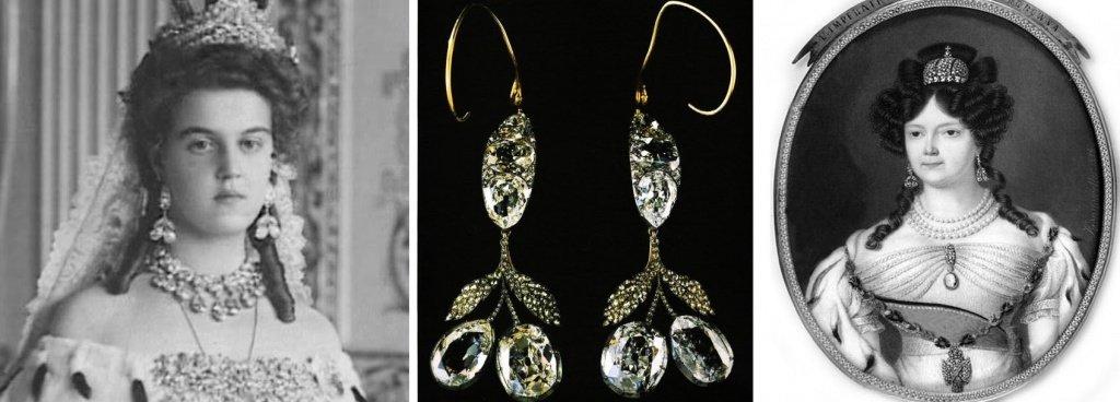 Серьги-вишенки с бриллиантами и алмазами